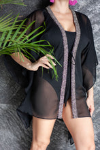 Load image into Gallery viewer, Black crepe chiffon beach kaftan cover up with hand sewn silver metallic beaded trim