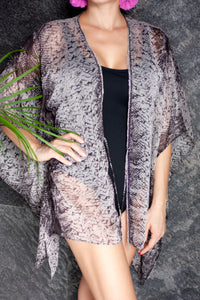 Snake print black and white beach kaftan cover up with silver fringe trim