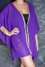 Load image into Gallery viewer, Malia beach kaftan cover up in royal purple with gold trim