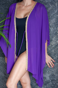 Malia beach kaftan cover up in royal purple with gold trim