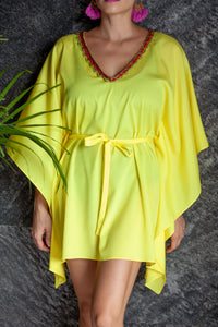 Yellow shiny satin belted drawstring kaftan cover up with gold fuchsia green trim on neckline