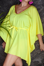 Load image into Gallery viewer, Yellow shiny satin belted drawstring kaftan cover up with gold fuchsia green trim on neckline