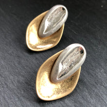 Load image into Gallery viewer, Brida Matte Hammered Gold and Silver Earrings