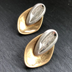 Brida Matte Hammered Gold and Silver Earrings