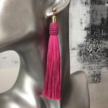 Load image into Gallery viewer, Calliope Tassel Earrings in Pink