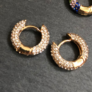 Hina Rhinestone Huggie Hoop Earrings