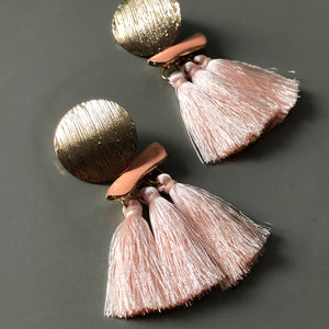 Gaia Tassel Earrings in Peach