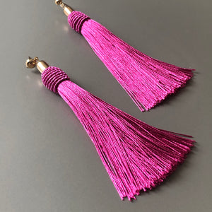 Calliope Tassel Earrings in Pink