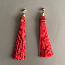 Load image into Gallery viewer, Calliope Tassel Earrings in Red