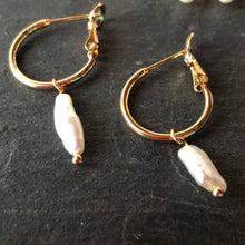 Load image into Gallery viewer, Avara Hoop Pearl Earrings