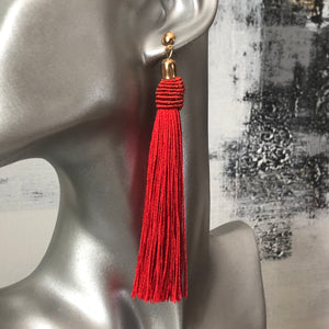 Calliope Tassel Earrings in Red