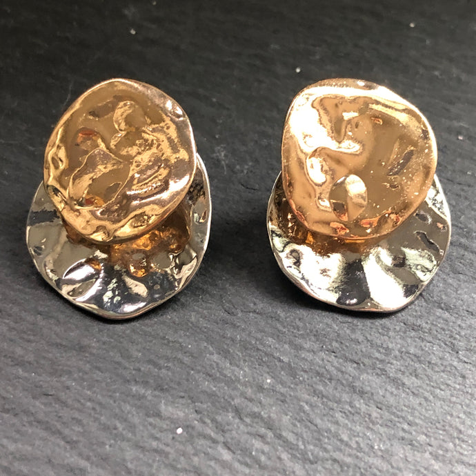 Tyra Hammered Gold and Silver Earrings