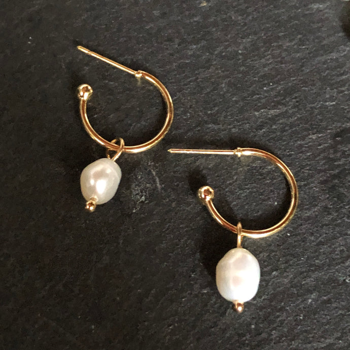 Libra Hoop Pearl Earrings
