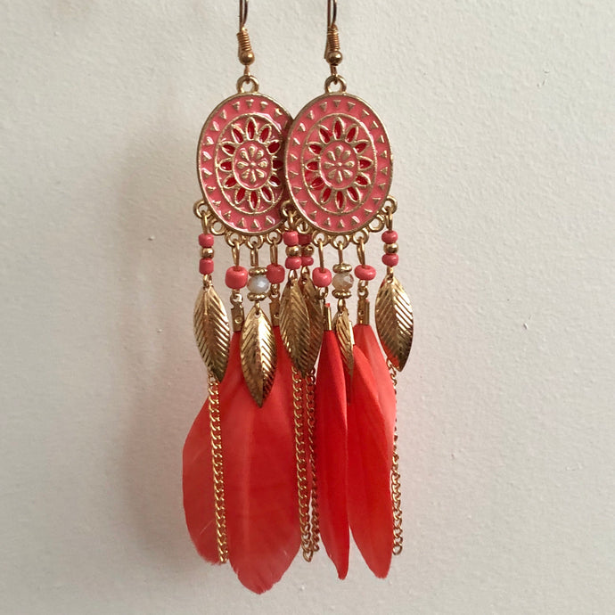 Cyane Feather Earrings in Coral
