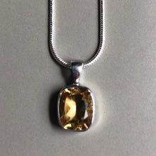 Load image into Gallery viewer, Yellow citrine pendant on sterling silver with sterling silver chain