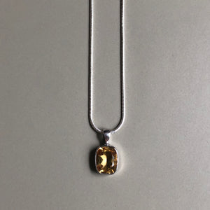 Yellow citrine pendant on sterling silver with sterling silver chain