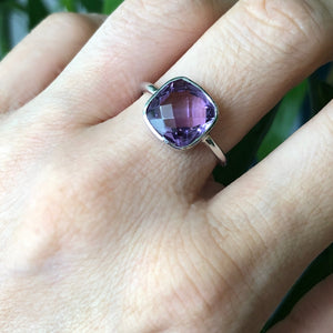 Square purple amethyst ring on sterling silver