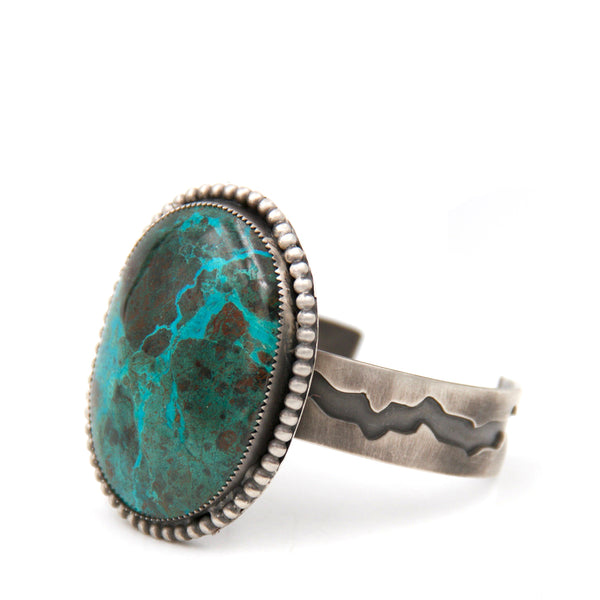 Chrysocolla Beaded Cuff Bracelet