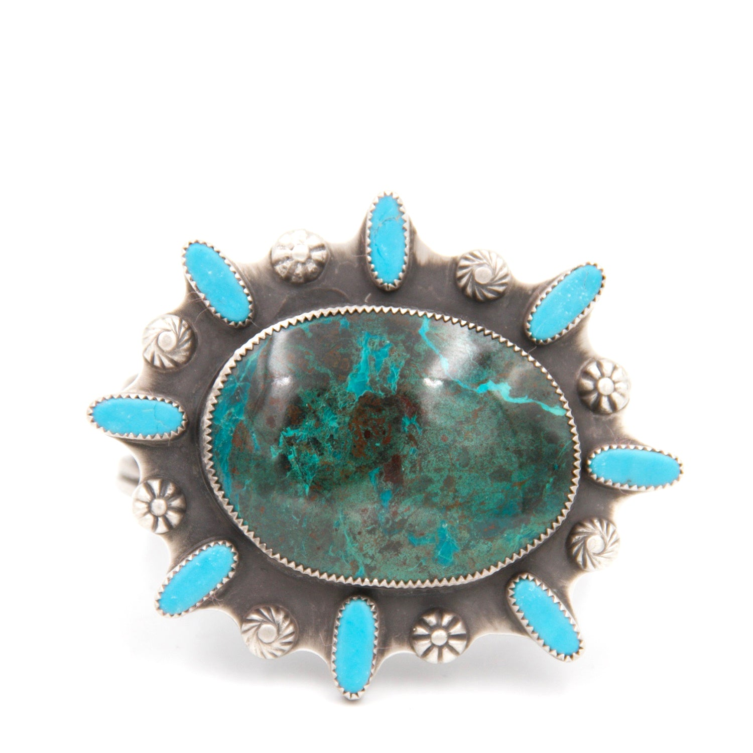 Chrysocolla and Mexican Turquoise Statement Cuff Bracelet