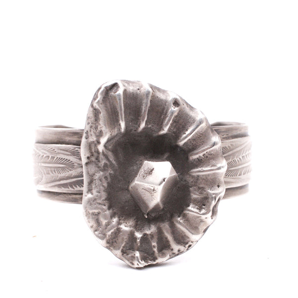 Sterling Ammonite Cuff Bracelet