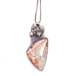 Lace Agate Crystal Cluster Pendant
