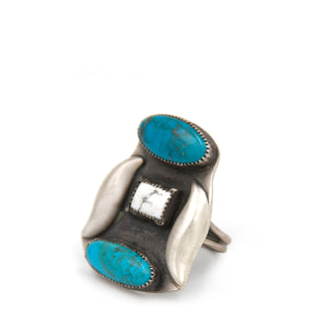 Mexican Turquoise + Howlite Statement Ring
