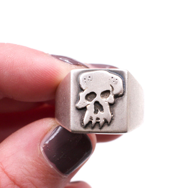 Hand Cut Skull Signet Ring