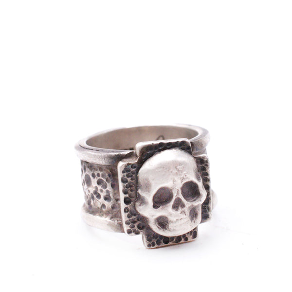 Textured Cross Skull Ring