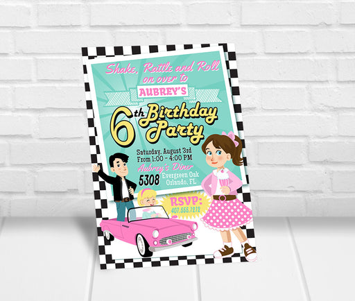 50s Theme Birthday Party Invitation - The Party Stork