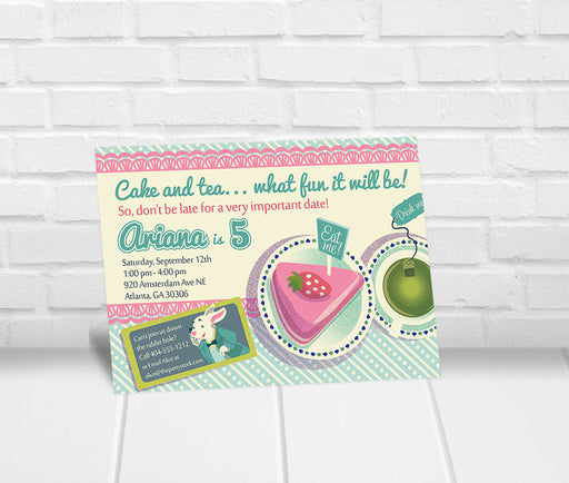 Alice in Wonderland Inspired Birthday Invitation - The Party Stork