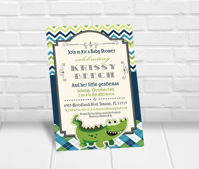 Alligator Baby Shower Invitation - The Party Stork