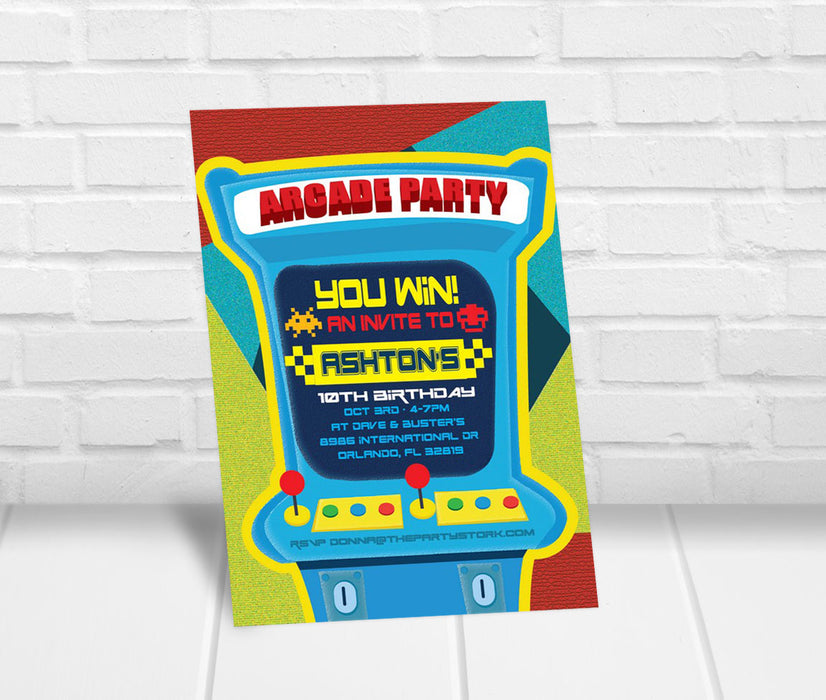 Arcade Birthday Party Invitation - The Party Stork