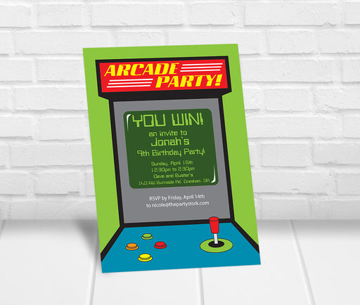 Arcade Party Invitation - The Party Stork