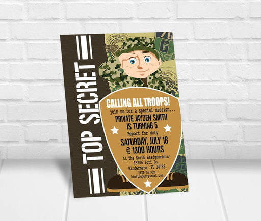 Army Birthday Party Invitation - The Party Stork