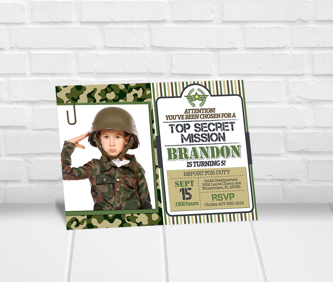 Army Photo Birthday Party Invitation