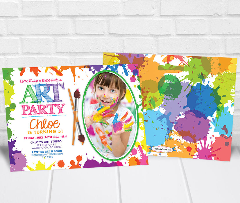 Art Paint Party Invitation with Photo - The Party Stork