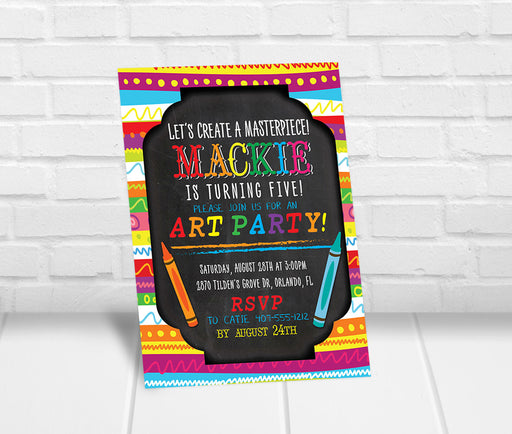 Art Party Chalkboard Invitation - The Party Stork