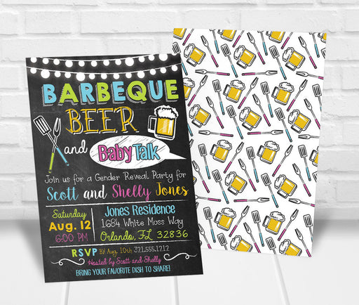 BBQ Beer and Baby Talk Gender Reveal Invitation - The Party Stork