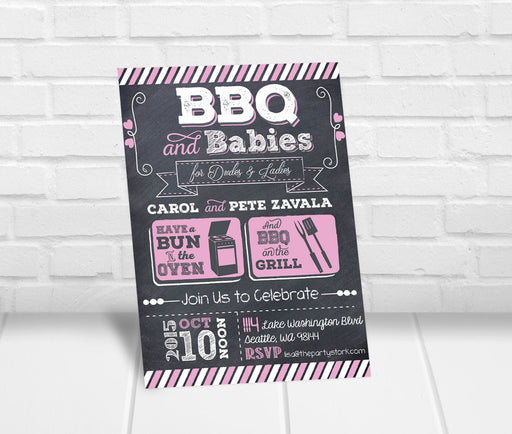 BBQ and Babies Baby Shower Invitation - The Party Stork