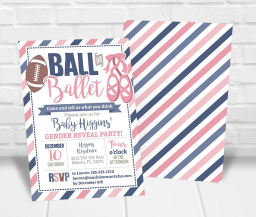 Ball or Ballet Gender Reveal Invitation - The Party Stork