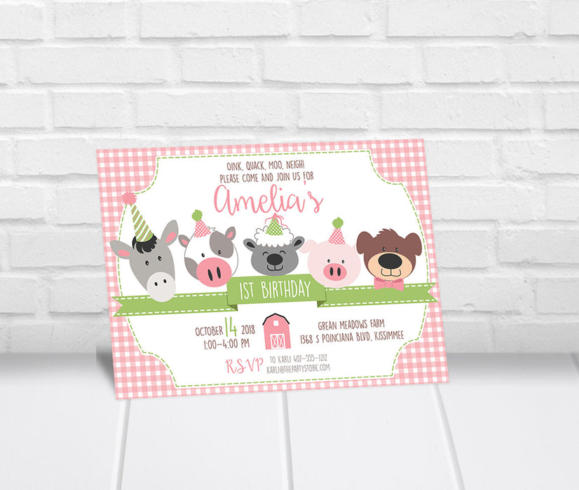 Barnyard Birthday Party Invitation Girls - The Party Stork