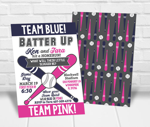 Team Blue or Team Pink Gender Reveal Party Invitation