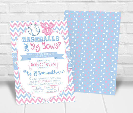 Baseballs or Big Bows Gender Reveal Party Invitation - The Party Stork