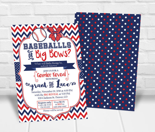 Baseball or Bows Gender Reveal Party Invitation