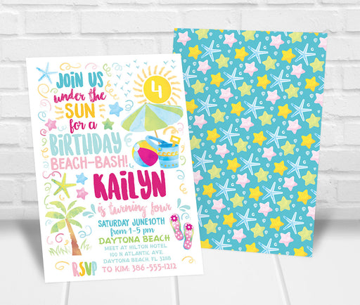 Beach Birthday Party Invitation - The Party Stork