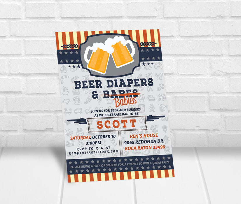 Beer Diapers and Babies Invitation for Man - The Party Stork