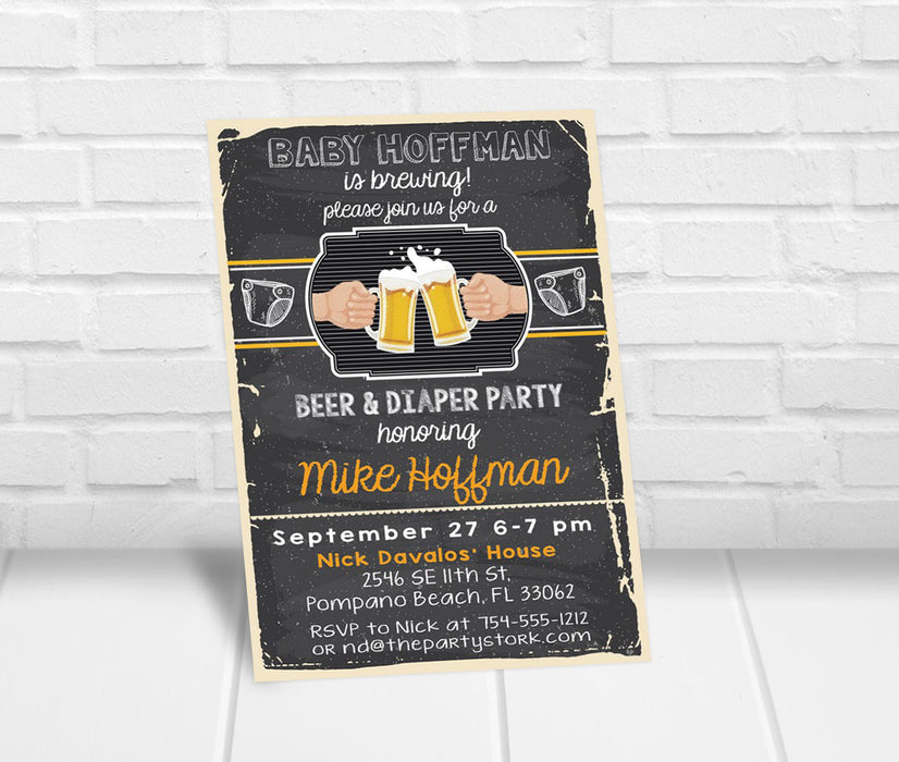 Beer and Diaper Party Invitation - The Party Stork