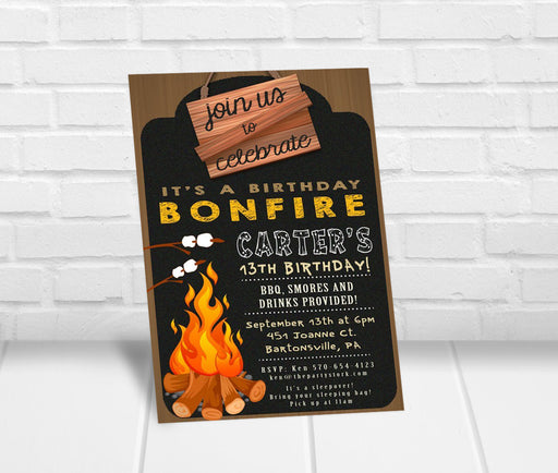 Bonfire Birthday Party Invitation - The Party Stork