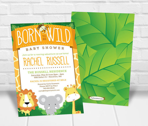 Born to be Wild Safari Baby Shower Invitation - The Party Stork