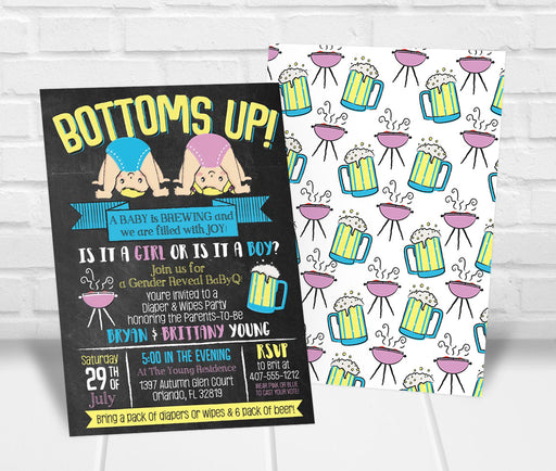 Bottoms Up Gender Reveal Party Invitation - The Party Stork